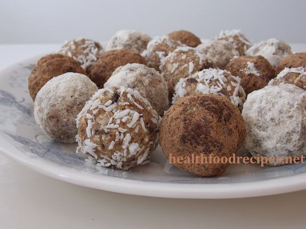 Raw vegan chocolate nut fruit balls recipe, raw food desserts recipe