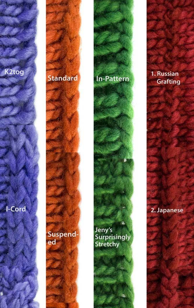 Context is everything! Here are photos of all the knitting bind-offs together. Get a complete idea of what 45 knitted bind-offs look like - closeup photos.