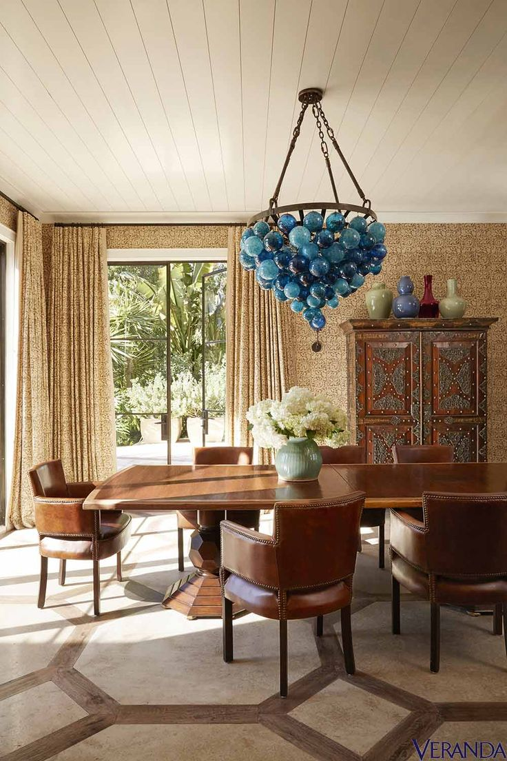 103 best global style images on pinterest architectural digest an azure pendant from tobi tobin complements chairs from mecox a table from martyn lawrence