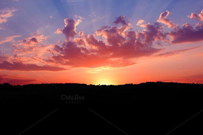 Sunrise, Dawn of Light over Serbia by NikoKolev on Creative Market