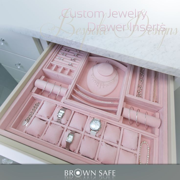 Ultrasuede lined drawer inserts for jewelry perfectly organize your collection. Custom jewelry tray with neck form display, watch pillows, ring holders, bracelet and necklace compartments.