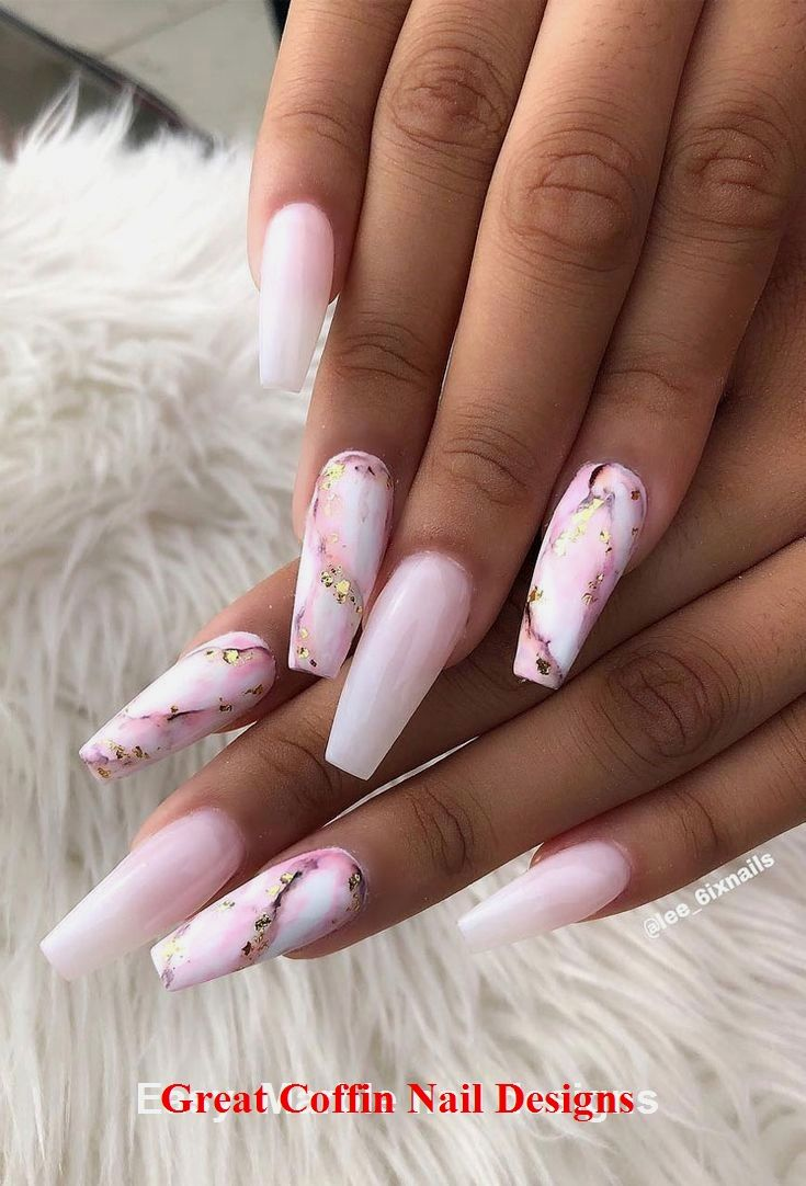 20 Trendy Coffin Nail Art Designs #coffinnails #nailartideas