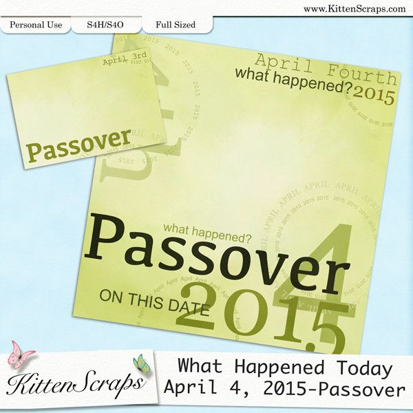 Paper created for today, Passover, April 4th, 2015, by KittenScraps. Digital Scrapbooking Freebie