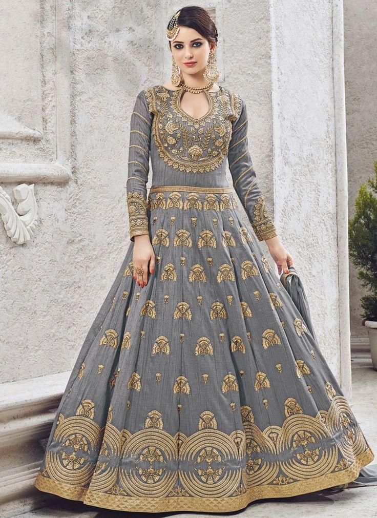 Grey Art Silk Abaya Style Anarkali