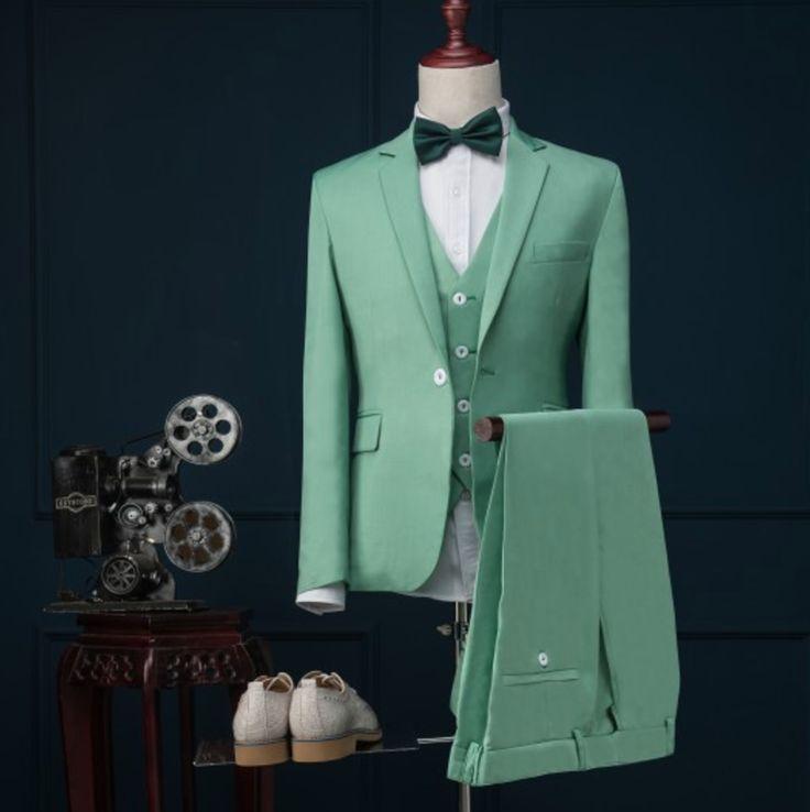 [Light Green] Slim Fit noivo smoking 13 estilos padrinhos Notch lapela casamento / jantar ternos melhor homem noivo ( Jacket + Pants + Vest )