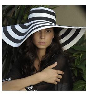 Striped Floppy Straw Wide Brim Derby Beach Hat