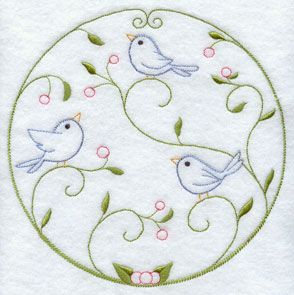 A quick stitch circle machine embroidery design with birds.