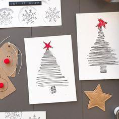 Weihnachtskarten selber machen, einfach, schnell und mit Wow-Effekt. Auch für Kinder zum Basteln geeignet.