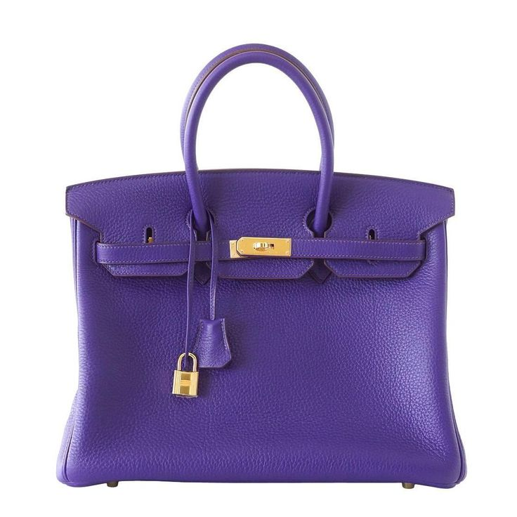 Guaranteed authentic Hermes Birkin 35 in vivid jewel toned Iris. Special Order Horseshoe with muted Bois de Rose interior. This exotic combination is accentuated with lush gold hardware. Clemence leat