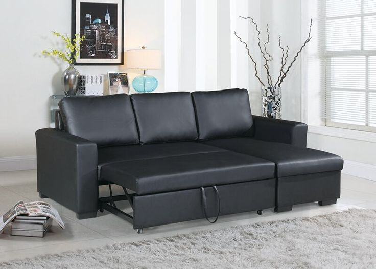 """2 pc everly collection black faux leather upholstered sectional sofa set with pull out sleep area. Sectional features a pull out bed area underneath love seat and flip up storage area underneath chaise. Sectional measures 99"""" x 64"""" L Chaise x 37"""" H. Some assembly may be required."""