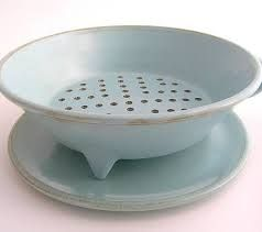 wheel thrown pottery colander with drain plate