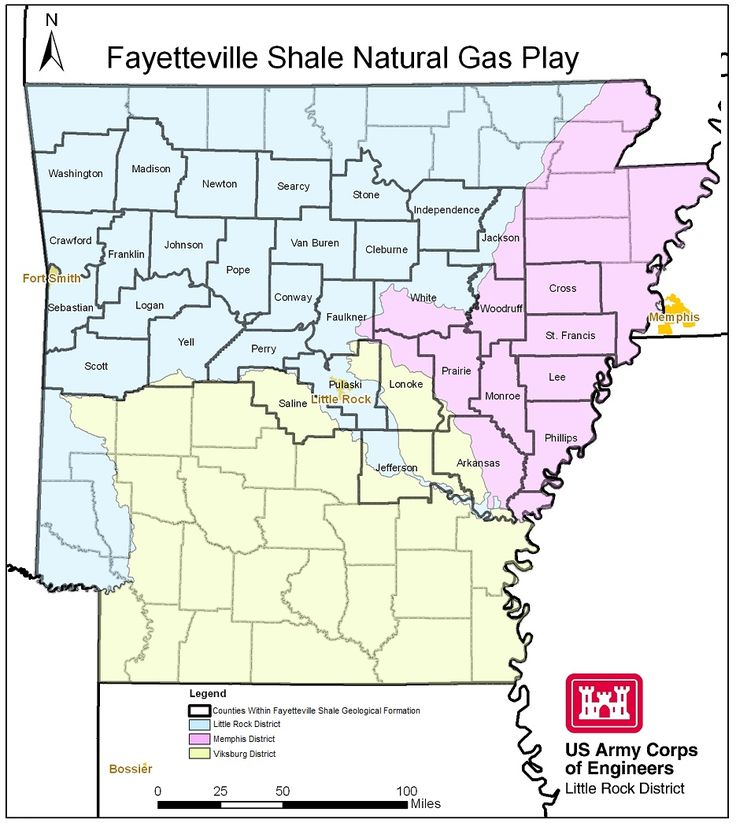 Map Of Arkansas Wetlands The Fayetteville Shale Play Area Encomp Three Corps Of Engineers