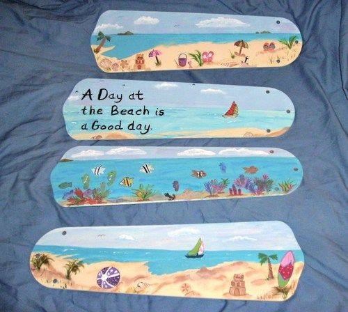 "Painting packet paint fan blades with ""beach"" scenes e-packet"