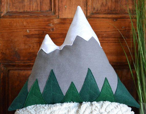 Light grey mountain pillow - Mountain cushion modern rustic home decor, children room, cabin decor - Felt trees - by Cabin Studio, Quebec