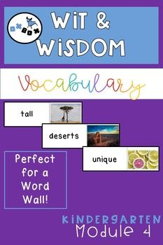 Wit and Wisdom Vocabulary for Word Wall- Kindergarten Module 4