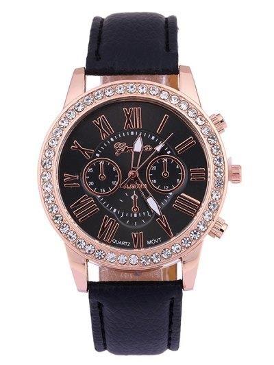 Números PU cuero tachonado Rhinestone reloj de cuarzo