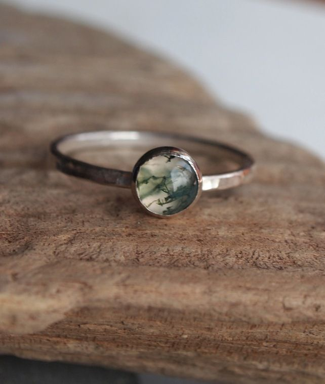 Sterling silver ring with green moss agate £18.00