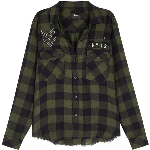 Rails Pepper Dark Olive Checked Shirt (£160) ❤ liked on Polyvore featuring tops, studded shirt, shirt top, studded top, checkered pattern shirt and checkered shirt