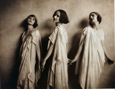 """Vionnet, as worn by Isadora Duncan. Madeleine Vionnet believed that """"when a woman smiles, then her dress should smile too."""" Eschewing corsets, padding, stiffening, and anything that distorted the natural curves of a woman's body, her clothes were famous for accentuating the natural female form. Influenced by the modern dances of Isadora Duncan, Vionnet created designs that showed off a women's natural shape. Like Duncan, Vionnet was inspired by ancient Greek art, in which garments appear ..."""