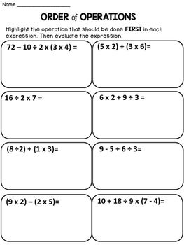 Free Order of Operations:This product contains 1 worksheet with the order of operations.These page is a sample from my following product:Order of Operations