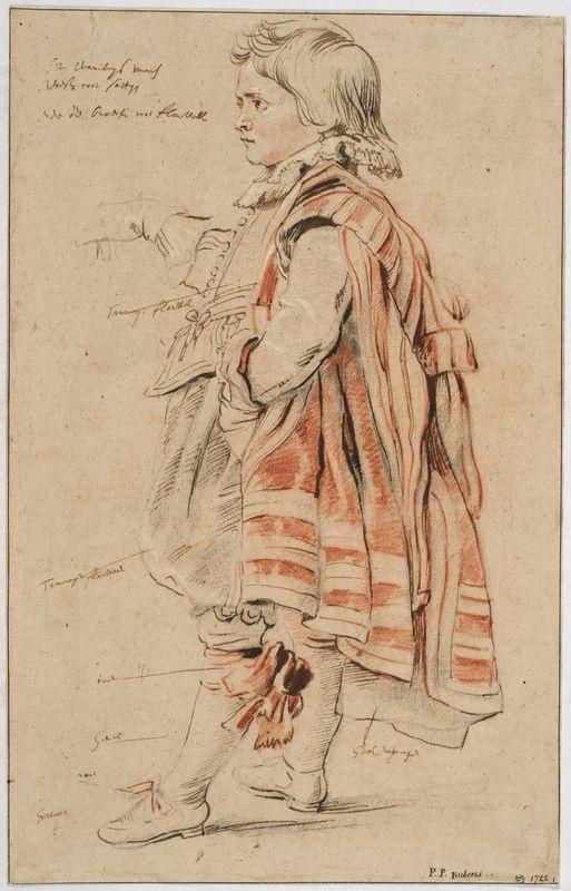 Peter Paul Rubens (1577-1640) Dvärgen Robin / Robin, the Dwarf of Earl of Arundel. 1620. Svart, röd och vit krita, penna och brunt bläck på ljusgrått papper (från Held), 40,8 x 25,8 cm. Nationalmuseum © Nationalmuseum