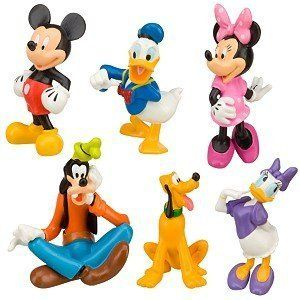 Disney Mickey Mouse Clubhouse Figure Play Set -- 6-Pc. by Disney. $34.95. This includes:6 figurines. Disney Mickey Mouse Figurine Set. For ages 3 and up.. Includes Mickey Mouse, Minnie Mouse, Donald Duck, Daisy Duck, Goofy and Pluto toy figuresScenic display packagingBack of package folds down to create a play scene backdrop, fastens back again with self-stick fabric closurePlastic/PVCFigures up to 3 1/2'' HAges 3+Imported