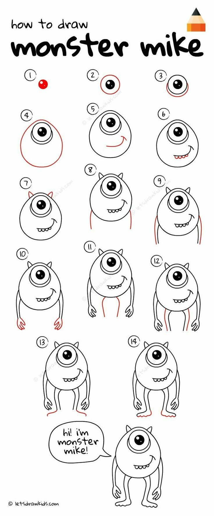 Pin By Melissa Silveira On Diy Monster Drawing Easy Disney