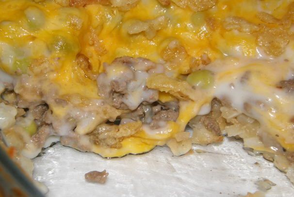 Hamburger Hash Browns Hotdish. Made with hash brown patties. In the oven now!