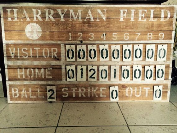 Customized Rustic Baseball Vintage Score Board