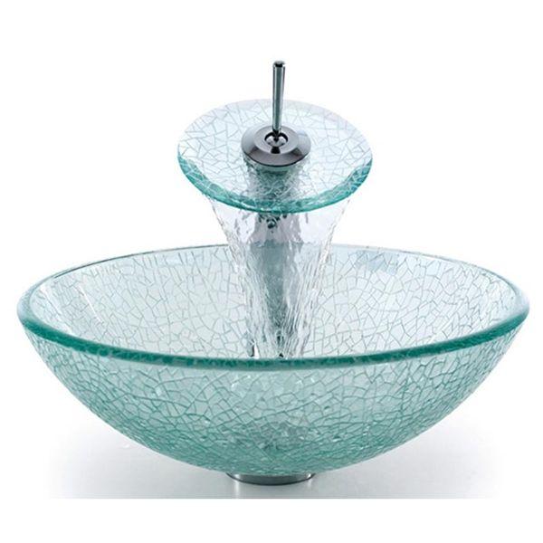Kaufen (EU Lager) Gehärtetes Glas Rund Waschbecken mit Wasserablauf und Einhebel Armatur und Montage Ring mit Günstigste Preis und Gute Service!