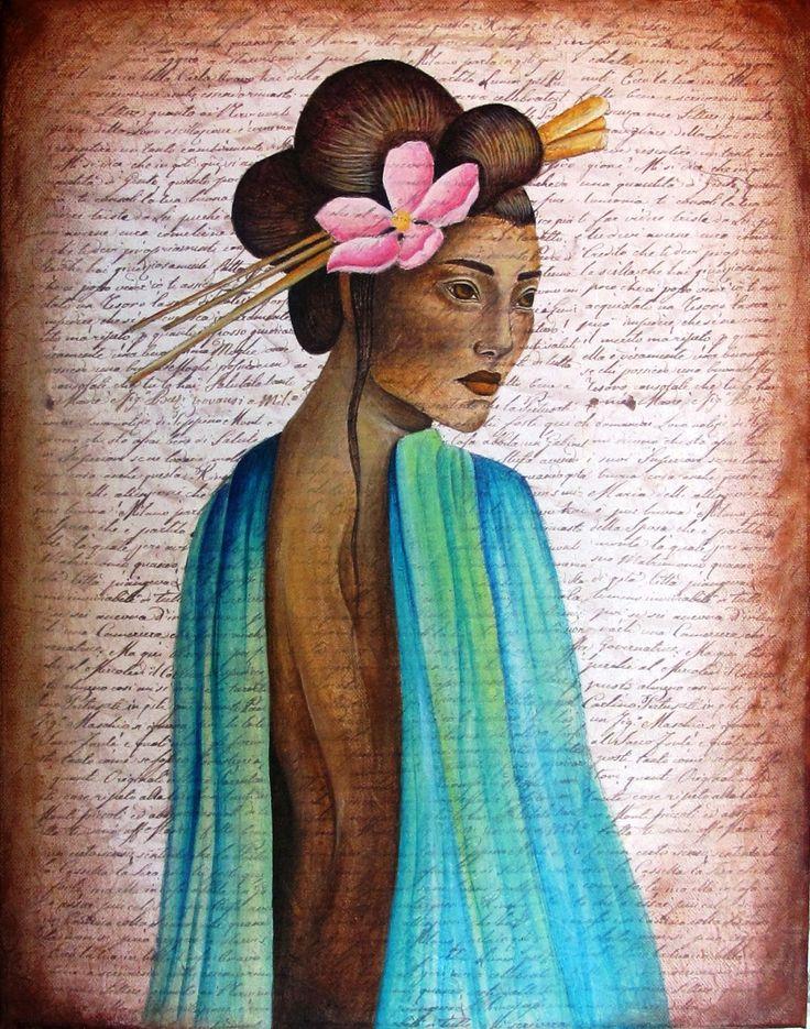 acrylics on canvas, geisha, Sofia Fileas Art, www.facebook.com/sofiafileasart