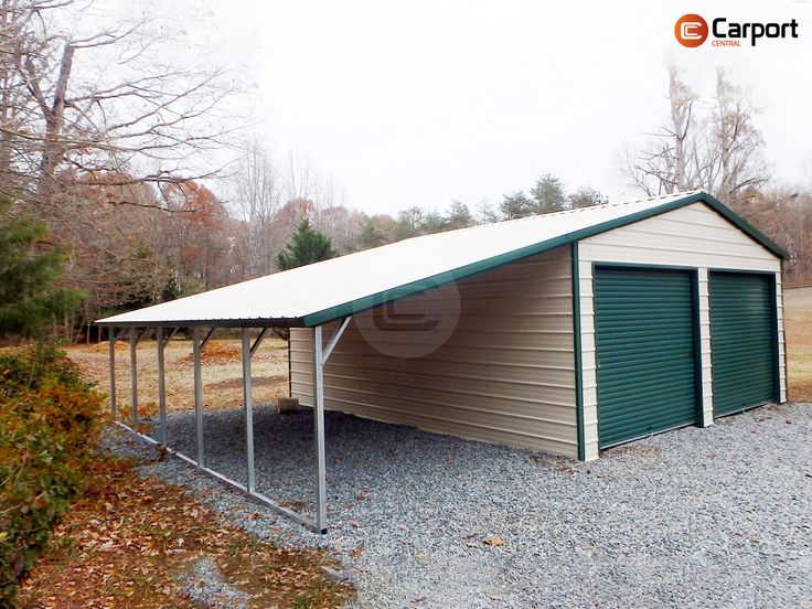 Vertical Roof Garage with 12'w lean to Modern shed