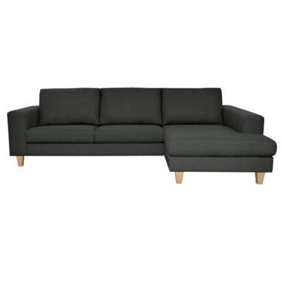 Debenhams Dark grey 'Cara' right hand facing upholstered chaise unit with light wood feet- at Debenhams.com