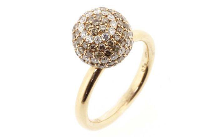 Online veilinghuis Catawiki: Roségouden kogelring bezet met witte en bruine diamanten - totaal 2.44ct