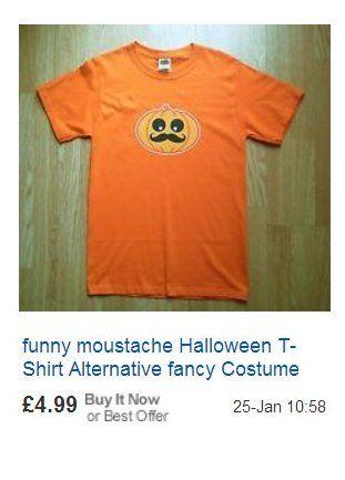 Halloween T-shirt Moustache vs. mustache vs. mustachio Paul Williams AIG pumpkin