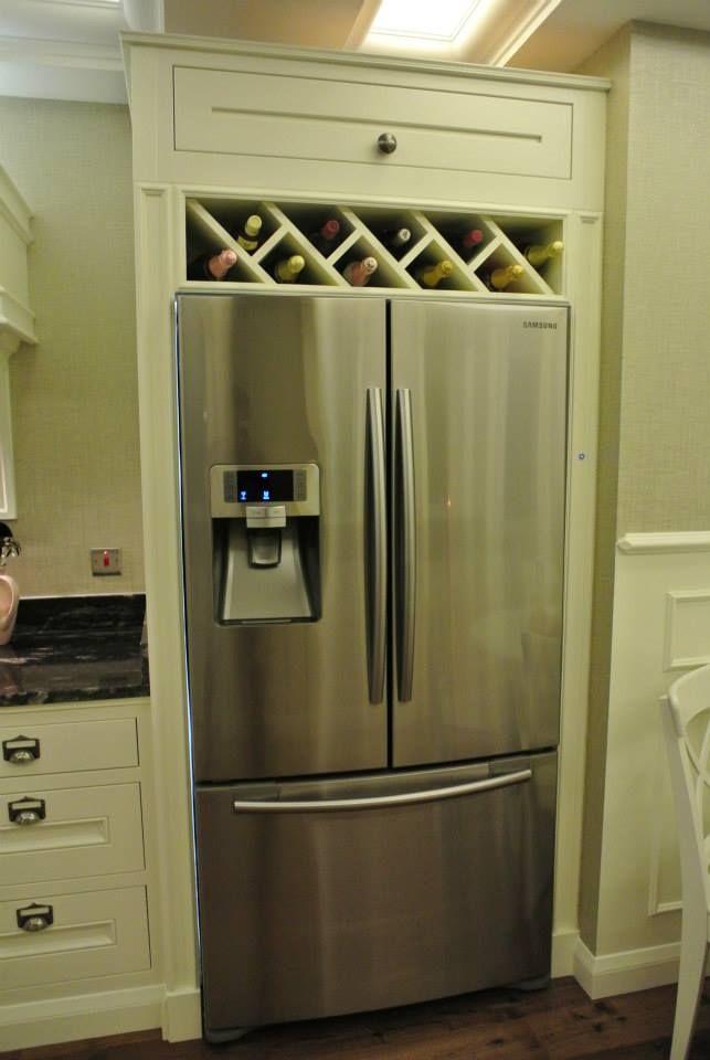 Image result for built in wine rack above fridge