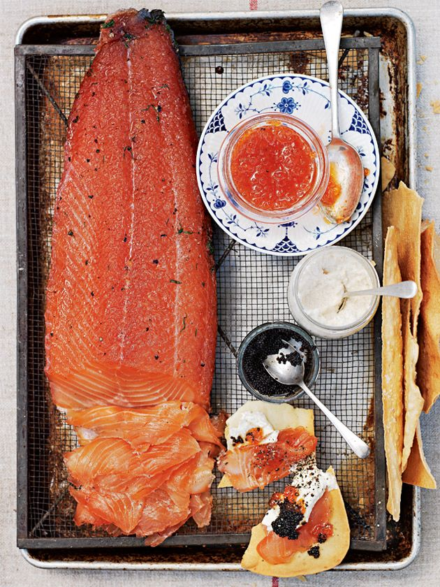 campari and dill-cured salmon  with lavosh and caviar.