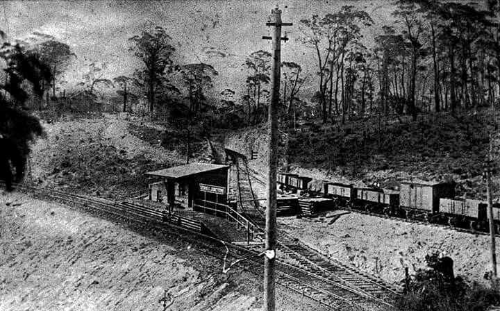 The original Newnes Junction Railway Station in New South Wales in 1908.Located on the 1897 ZigZag Deviation.The line coming behind the main stationis the Wolgan Valley.A♥W