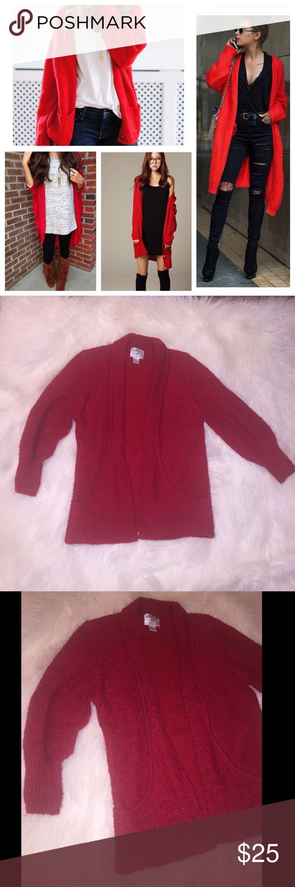 Oversized Vintage Red Cardigan Gorgeous, classy & stylish oversized Cardigan. In great condition. Very warm. Pockets. 100% acrylic. First photo is inspiration, last 3 are of actual Cardigan. Sweaters