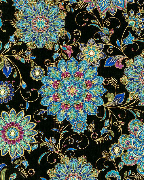 Dynasty - Inlaid Medallions - Black/Gold                              I love this fabric! It would make a great stack'n'whack quilt! If I only knew the repeat!