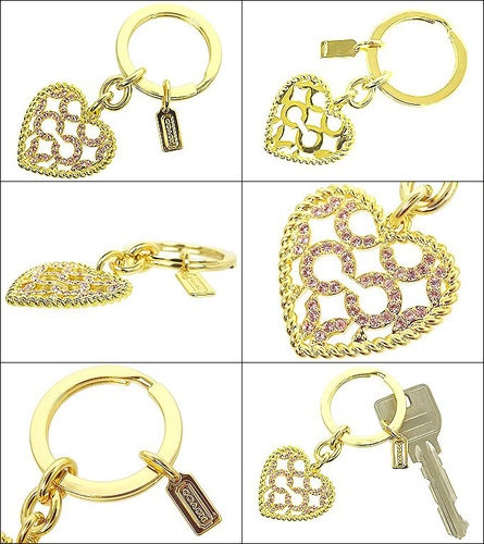 Coach 93170 Heart Key Ring is going up for auction at  5pm Sun, May 26 with a starting bid of $1.