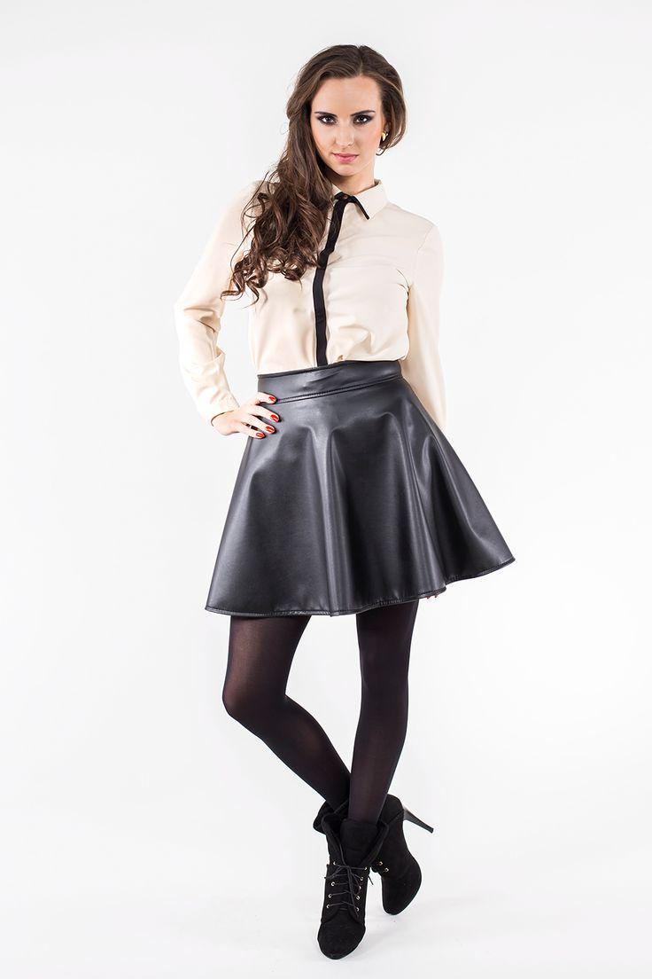 Beżowa koszula z czarnym pasem ABK0036 www.fajne-sukienki.pl