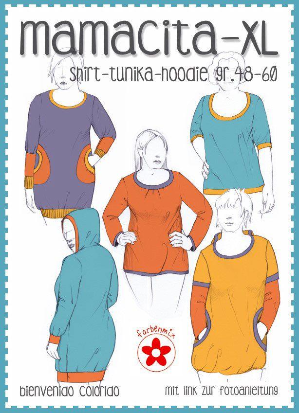 Schnittmuster Mamacita XL - Plus Size Shirt, Tunika oder Hoodie in ...