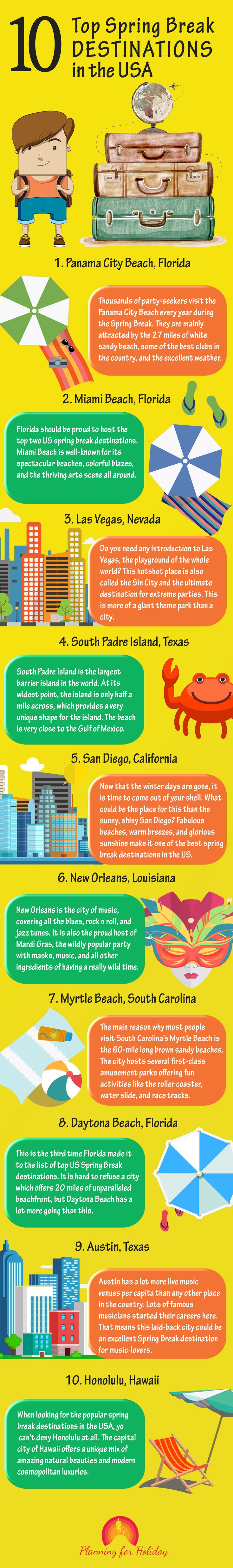 #Planning to visit #USA on #spring #break? I have gone through all the available options and listed the best #February #travel destinations for you. Check out the list of top 10 spring break #destinations in the USA. #Travelling #TravelDestinations
