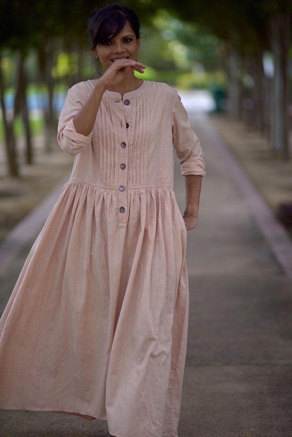 Madrid Pure handloom cotton Khadi dress in by kinchebyPayal