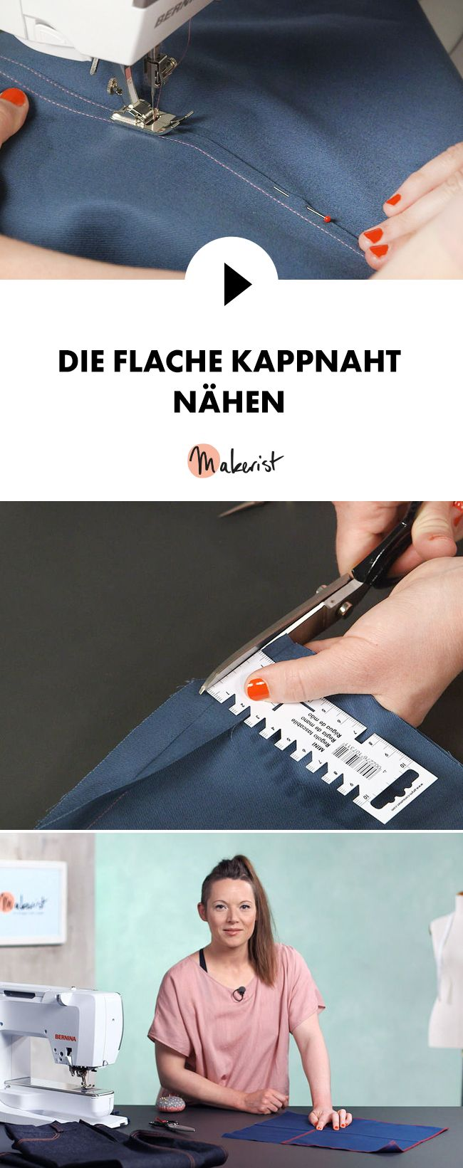 Flache Kappnaht richtig nähen - Schritt für Schritt erklärt im Video-Kurs via Makerist.de