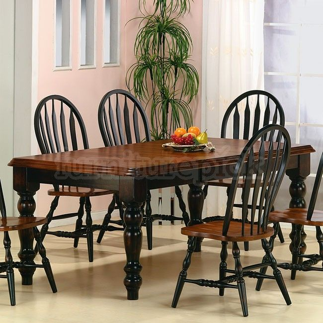 Antique Black And Cherry Finish Gives The Toffee Casual Dining Set Its Traditional Look With Heavy Table Legs A Thick Beveled Edge Top Your
