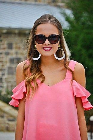 Nina Cold Shoulder, Pink :: The Blue Door Boutique