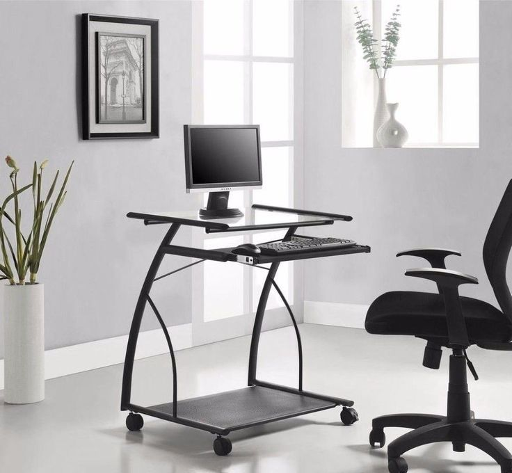 Compact Mobile Computer Desk Modern Home Office Furniture Black Finish #desk