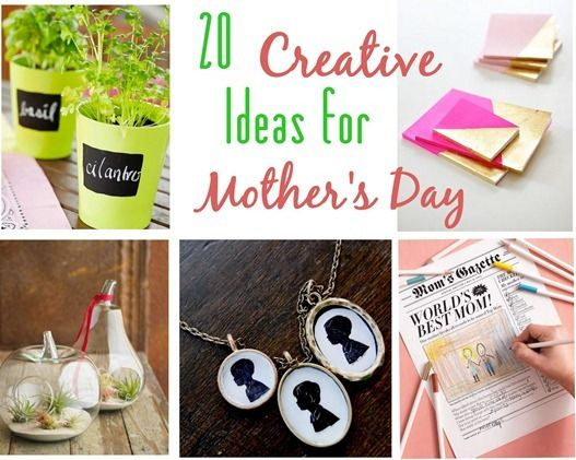 20 Creative Gifts for Mother's Day. Not exactly the best time to post this, but if I don't now I'll forget to later.